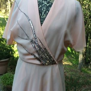 Vintage Brushed Chiffon Peach Wrap Sequin Dress